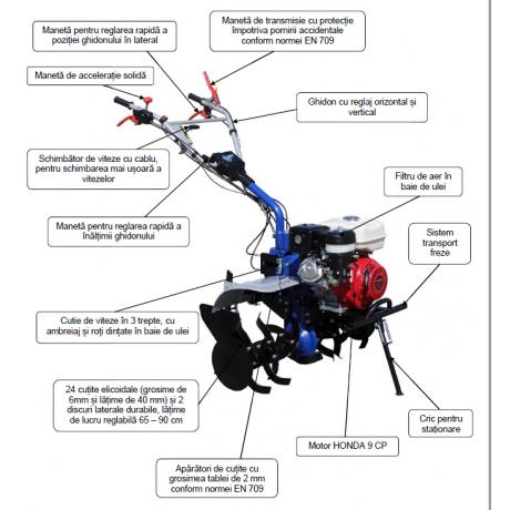 Motosapa AGT 13000 Premium Motor Honda GX390 11.0 HP pe benzina cu ghidon reglabil orizontal si vertical
