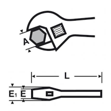 """Cheie reglabilă cu mâner îmbrăcat şi fălci subțiri 1.1/4 """" , 34 mm Virax , cod 017047"""