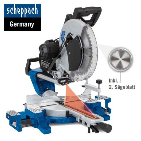 HM 216  Scheppach  Fierastrau circular unghiular culisant ,putere 2000 W , diametru disc 216 , cod 5901215903