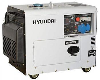DHY6000SE Hyundai  Generator  de curent monofazic  , putere motor 5 kW , tip motorHyundai D400E , rezervor in baia de  ulei 1.6 l