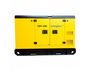 YDY15S Stager Generator de curent insonorizat 10 kVA , silent 1500rpm , diesel , monofazat Conector ATS, Optional ATS, Baterie, Display  Digital.  Date tehnice:  Putere nominala (kVA)    13. Putere maxima (kVA)    14. Tensiune nominala (AC) (V)    23