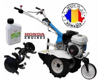 AGT 6500 GP Motosapa Profesionala cu motor Honda GP 160 cu freze de pamant 80 cm , plug de bilonat , roti pneumatice si ulei Honda